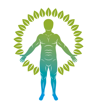 Vector graphic illustration of strong male, body silhouette standing on white background and made using green leaves. Eco friendly living, human and nature harmony concept.