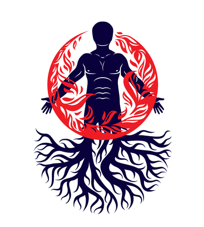 Vector illustration of human being created with tree roots. Human and nature harmony, fire man covered with a fireball. Illustration
