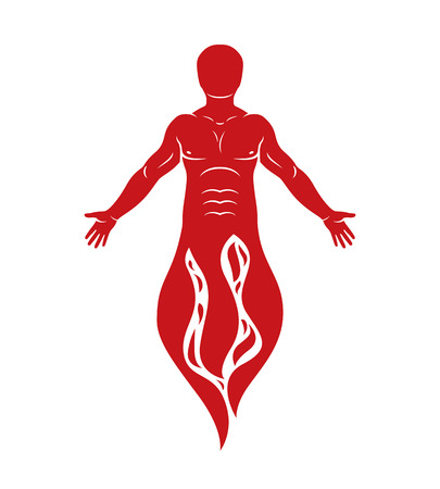 Vector illustration of human being standing. Hephaestus creative metaphor. Illustration