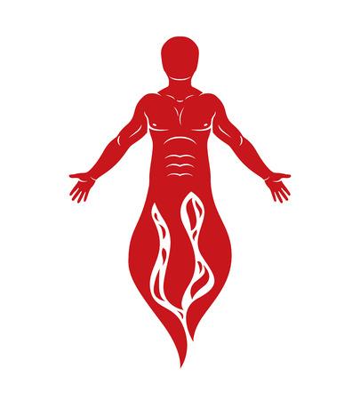 Vector illustration of human being standing. Hephaestus creative metaphor. Stock Vector - 84699962