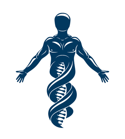 Vector graphic illustration of strong male made as DNA symbol continuation. Bioengineering as the direction of genetics. Ilustração