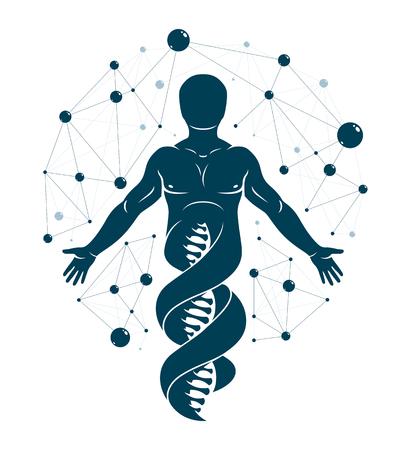 DNA 가닥 연속체, 메쉬 와이어 프레임 연결을 사용 하여 만든 개성으로 만든 인간의 벡터 그래픽 일러스트 레이 션. 생화학 과학 연구.