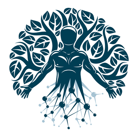Vector individual, mystic character made with wireframe mesh connections and eco tree leaves. Human, science and ecology interaction, technology and nature balance. 免版税图像 - 84052707