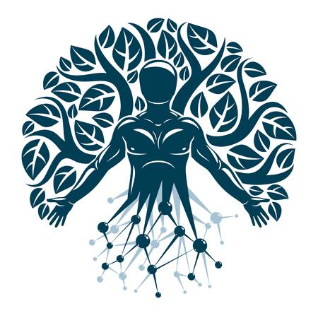 Vector individueel, mystiek karakter gemaakt met draadframe netwerkverbindingen en eco-boombladeren. Menselijke, wetenschappelijke en ecologische interactie, technologie en natuurbalans.