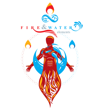 Vector graphic illustration of muscular human, mystic individual composed with limitless symbol created from water wave. Continuous human and nature harmony.