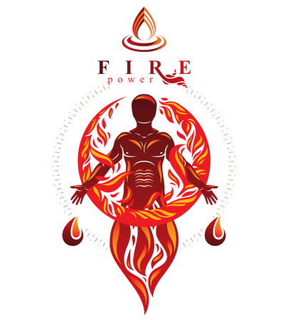 Vector graphic illustration of strong male, body silhouette standing. Fire person as bunch of the powerful energy covered with a fireball. Stock Vector - 83992384