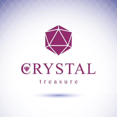 expensive: Vector glossy gemstone design element. Faceted jewelry sign emblem, logo. Brilliant diamond illustration.