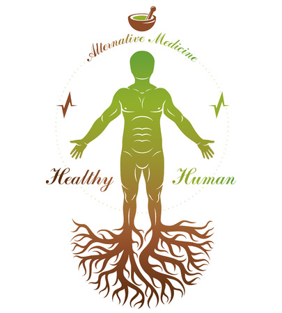 Vector graphic illustration of strong male depicted as continuation of tree and composed with mortar and pestle. Phytotherapy metaphor, healthy lifestyle concept. Ilustração
