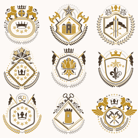citadel: Set of old style heraldry vector emblems, vintage illustrations decorated with monarch accessories, towers, pentagonal stars, weapon and armory. Coat of Arms collection. Illustration