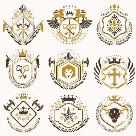 중세 성, 병기고, 야생 동물, 제국의 왕관과 같은 디자인 요소로 만든 벡터 복고풍 빈티지 휘장의 집합입니다. 국장의 컬렉션입니다.
