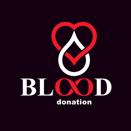 blood transfer: Blood donation inscription isolated on white and created with vector red blood drops, heart shape and infinity symbol. Medical theme graphic logo for use in charitable organizations.