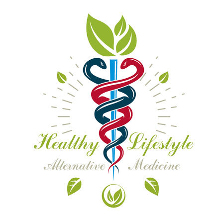 Caduceus medical symbol, graphic vector emblem for use in healthcare. Phytotherapy metaphor. Illustration
