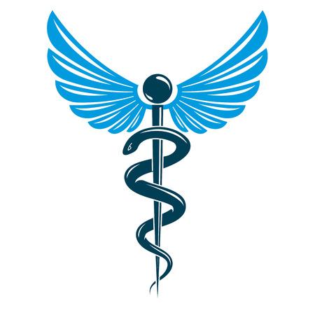 アスクレピオスのベクトルエンブレム抽象を使用して構成翼と蛇のベスト薬局広告で使用されます。