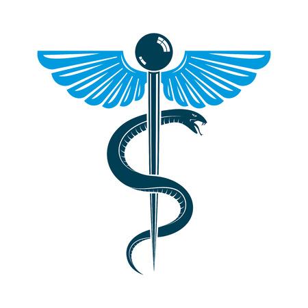 Caduceus medisch symbool, grafisch vector embleem gemaakt met vleugels en slangen.
