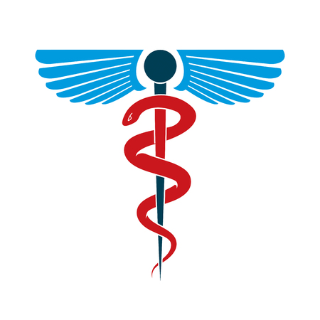 homeopathic: Aesculapius vector abstract emblem composed using wings and snakes best for used in pharmacy advertisement.