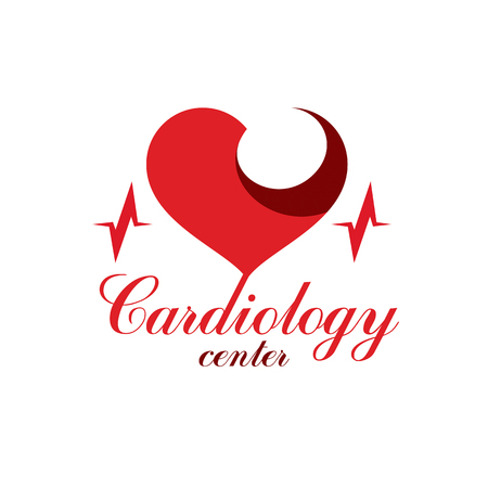 Cardio vector abstract logo made with red heart shape and an ekg chart. Cardiology medical support center conceptual emblem. Illustration