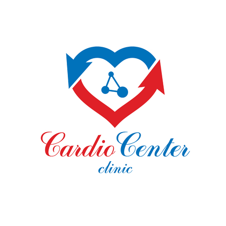 Vector heart shape logo created with wireframe connections, mesh. Scientific research and cardiology metaphor. Cardiovascular illness treatment concept for use as cardio center emblem.
