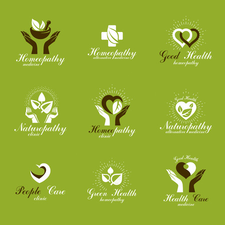 homeopathic: Living in harmony with nature metaphor, set of green health idea logos. Wellness center abstract modern emblems.