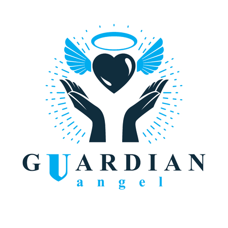aura: Loving heart in human hands, giving aid metaphor. Holy spirit graphic vector logo best for use in charity organizations. Illustration