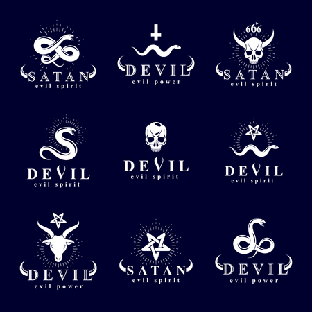 pentacle: Set of vector demonic infernal mystic logotypes created using poisonous snakes, horned wicked dead head symbols, pagan pentacles and goats with 666 numbers as illustration of Lucifer.