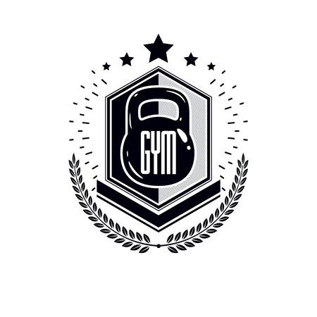 Logotype for heavyweight gym or fitness sport gymnasium, retro style emblem.