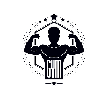 Bodybuilding and fitness sport logo templates, vintage style vector emblem. With bodybuilder silhouette. Illustration