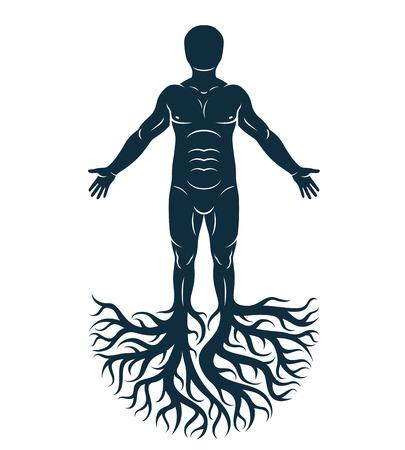 강한 남성, 신체 실루엣 흰색 배경에 서 서 나무 뿌리를 사용 하여 만든의 벡터 그래픽 일러스트 레이 션. 인생은 유, 가족의 뿌리의 나무.
