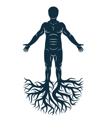 Vector graphic illustration of strong male, body silhouette standing on white background and made using tree roots. Tree of life metaphor, family roots.
