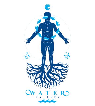 나무 뿌리와 물 방울, 인간의 물 보유는 유 인공 원으로 구성 된 체육 남자의 벡터 일러스트 레이 션은 유.