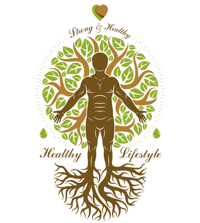 Illustration of athletic man made as continuation of tree with roots. 矢量图片