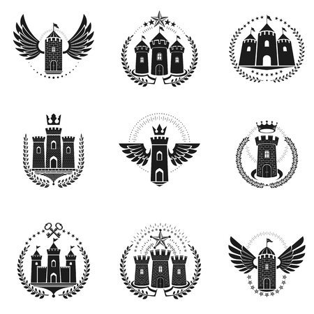 citadel: Ancient Fortresses emblems set. Heraldic Coat of Arms, vintage vector logos collection.