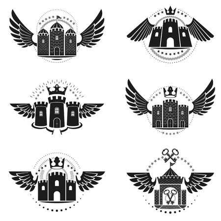 citadel: Ancient Bastions emblems set. Heraldic vector design elements collection. Retro style label, heraldry logo.