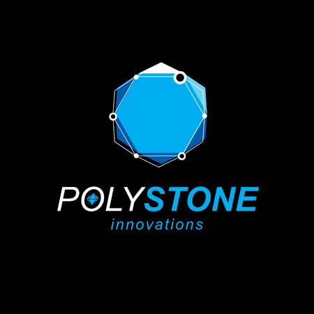 Technology conceptual logo. 3D engineering vector, abstract polygonal shape.
