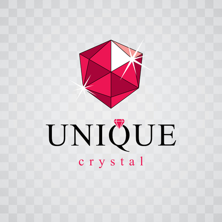 Vector glossy red ruby. Luxury diamond sign emblem, logo. Brilliant jewelry illustration.