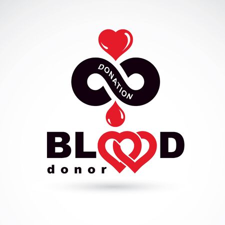 blood transfer: Blood donor inscription isolated on white and made using vector red blood drops, heart shape and limitless symbol. The 14 June, world blood donor day. Medical logo.