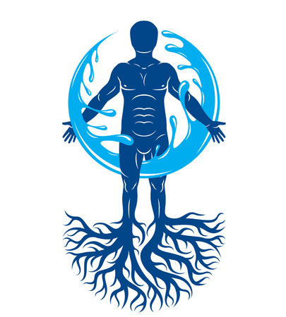 mythological character: Vector graphic illustration of muscular human, individual created with tree roots and surrounded by a water ball. Body cleansing idea, alternative medicine theme picture. Illustration