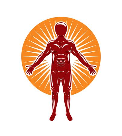 인간의 벡터 일러스트 레이 션 starburst 배경에 선다. 사람들의 정체성의 개념.