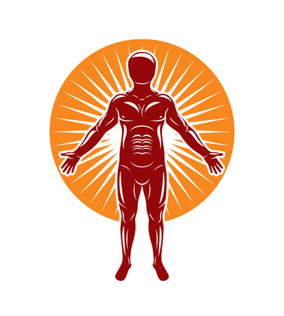 Vector illustration of human being stands on starburst background. The concept of people identity. Illustration