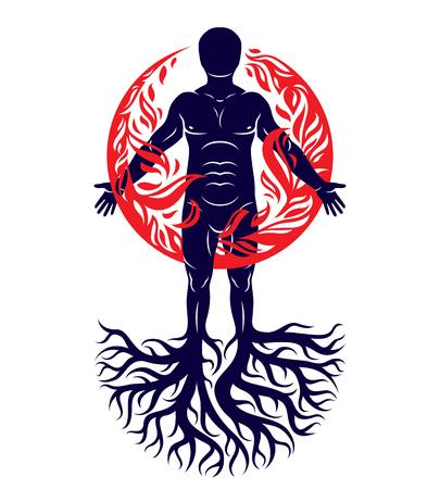 나무 뿌리와 함께 만드는 인간의 벡터 일러스트 레이 션. 인간과 자연의 조화, 불 덩어리로 뒤덮인 화재 남자.