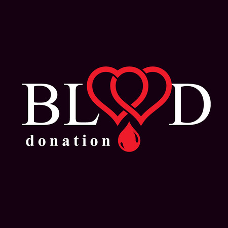 blood transfer: Blood donation metaphor, heart shape and blood drops. Medical theme vector graphic symbol.