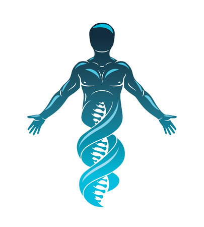 Vector graphic illustration of strong male made as DNA symbol continuation. Bioengineering as the direction of genetics. Illustration