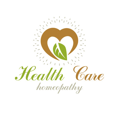 Vector heart shape composed with green leaves. Alternative medicine conceptual symbol can be used as phytotherapy in healthcare business. Imagens - 83918501