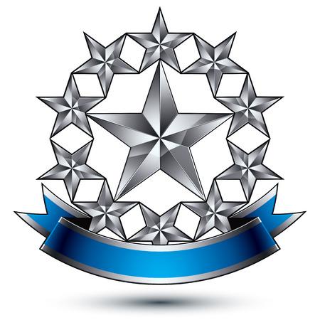 Renown vector silver star emblem with wavy ribbon, 3d sophisticated pentagonal design element.