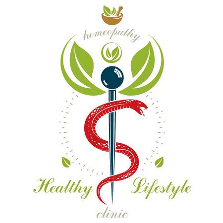 Icono del caduceo de la farmacia, logotipo médico del vector para el uso en la medicina holística, la rehabilitación o la farmacología. Homeopatía símbolo creativo compuesto con mortero y mano de mortero. Vectores