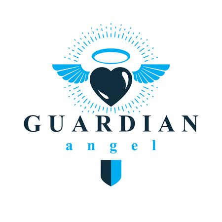 Corazón ilustración vectorial gráfico, el amor y el símbolo de la metáfora de la libertad. Ángel de la Guarda vector resumen emblema.