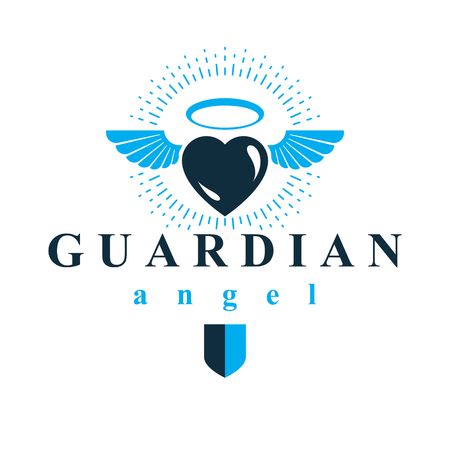 glorify: Heart vector graphic illustration, love and freedom metaphor symbol. Guardian angel vector abstract emblem.