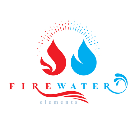 Nature elements harmony logo for use as corporate emblem, fire and water balance. Illustration