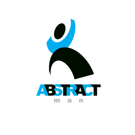 dancing club: Vector illustration of happy abstract  man with raised reaching up. Successful business career emblem. Corporate development symbol. Freedom creative logo.
