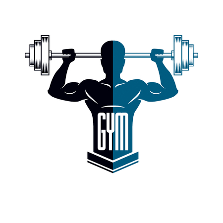 Bodybuilding weightlifting gym logotype sport club, retro style vector emblem. With sportsman silhouette.