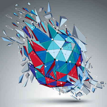 Abstract 3d faceted blue figure with connected black lines and dots. Vector low poly shattered design element with fragments and particles. Explosion effect. Illustration